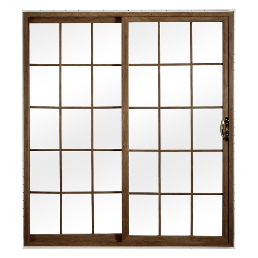 ReliaBilt 312 Series 70.75-in Grilles Between the Glass Dark Oak Int/White Ext Vinyl Sliding Patio Door