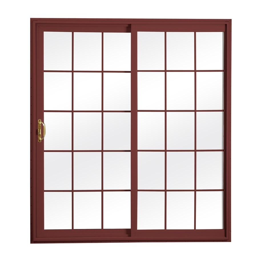 ReliaBilt 300 Series 70.75-in Grilles Between the Glass Wh Int/Red Ext Vinyl Sliding Patio Door with Screen