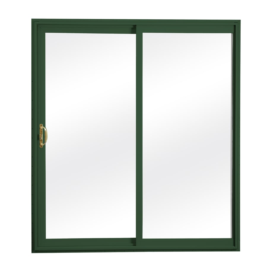 ReliaBilt 300 Series 70.75-in Clear Glass Wh Int/Green Ext Vinyl Sliding Patio Door with Screen
