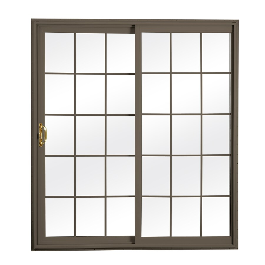 ReliaBilt 300 Series 70.75-in Grilles Between the Glass Wh Int/Terratone Ext Vinyl Sliding Patio Door with Screen