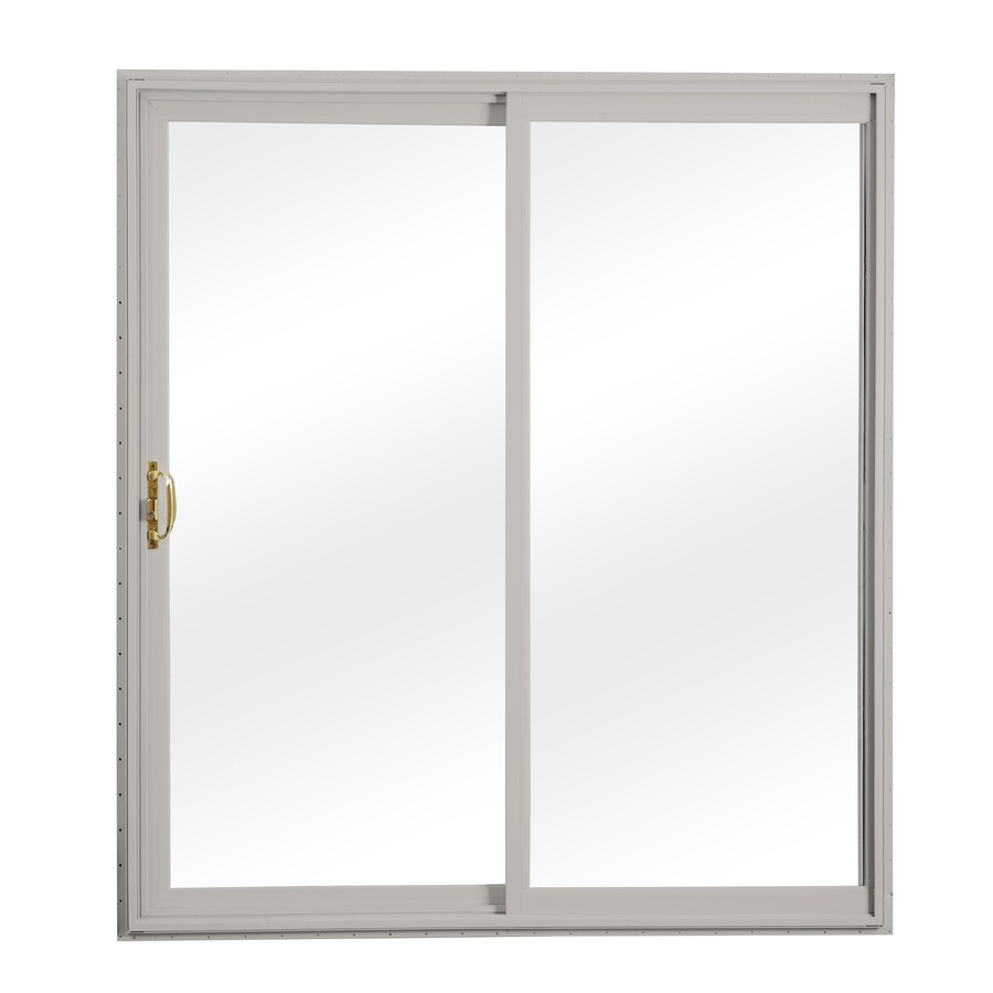 ReliaBilt 300 Series 58.75-in Clear Glass Wh Int/Gray Ext Vinyl Sliding Patio Door with Screen