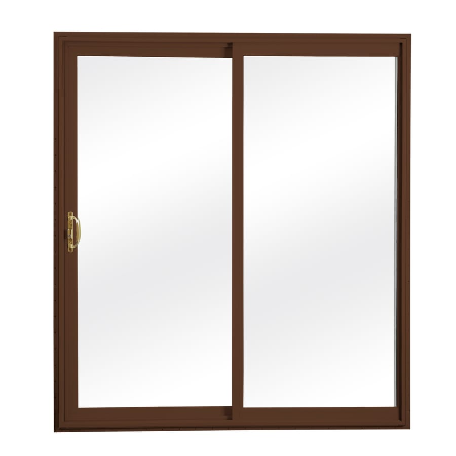 ReliaBilt 300 Series 70.75-in Clear Glass Wh Int/Chocolate Brown Ext Vinyl Sliding Patio Door Screen Included