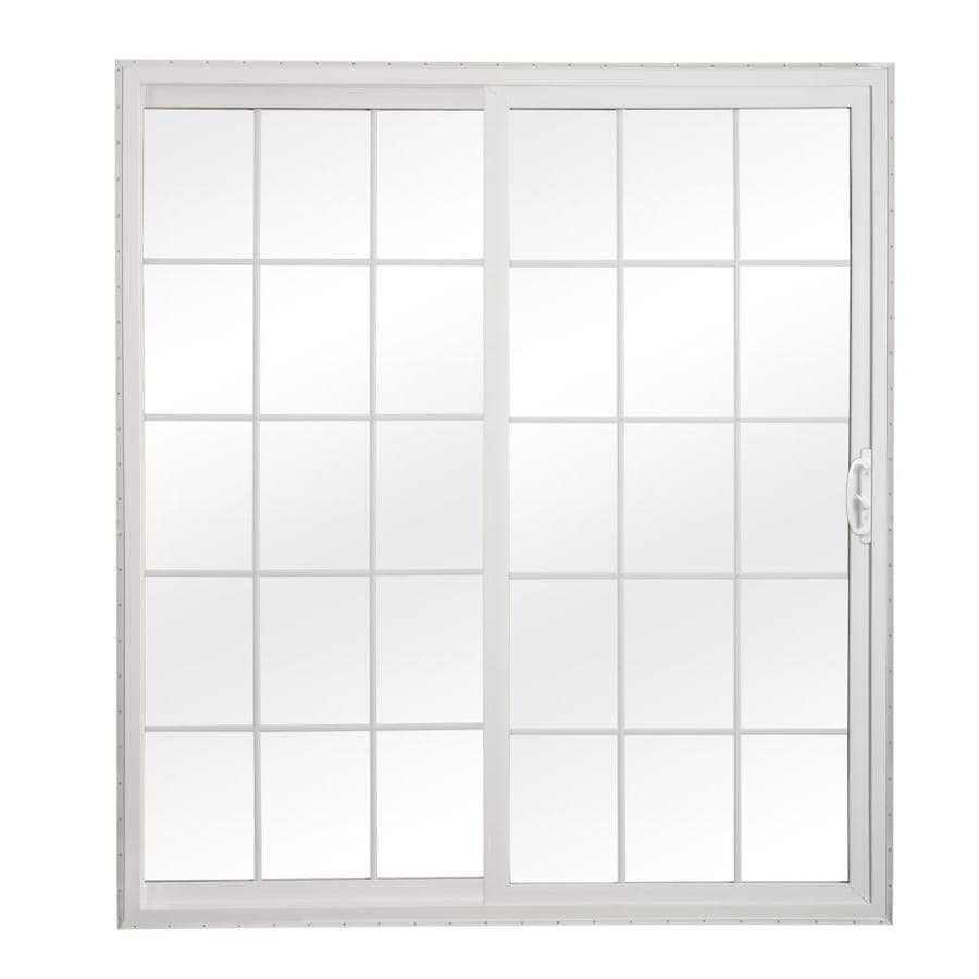 ReliaBilt 300 Series 70.75-in Grilles Between the Glass White Vinyl Sliding Patio Door