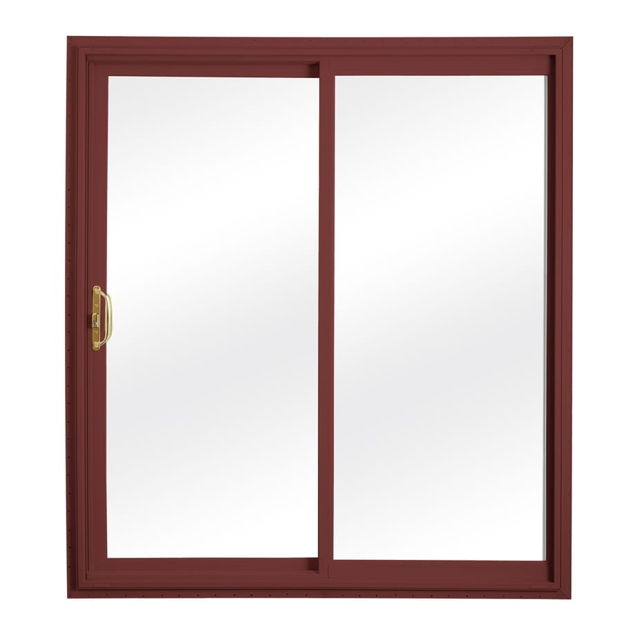 ReliaBilt 332 Series 58.75-in Clear Glass Wh Int/Red Ext Vinyl Sliding Patio Door with Screen