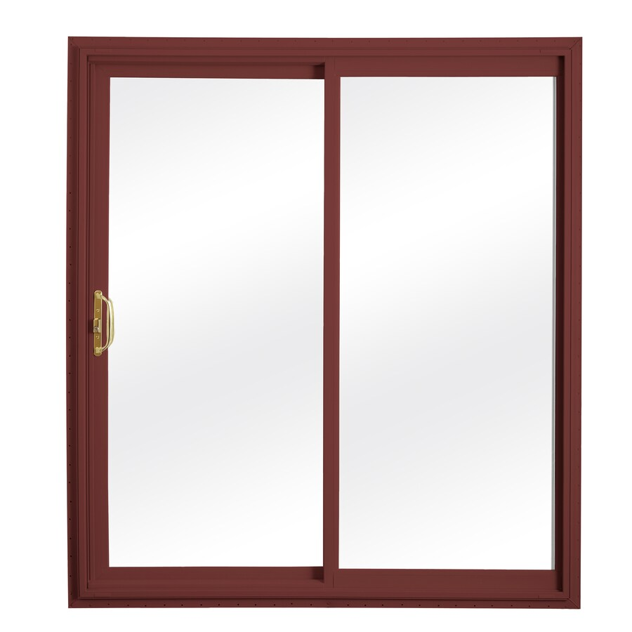 ReliaBilt 332 Series 70.75-in Clear Glass Wh Int/Red Ext Vinyl Sliding Patio Door with Screen