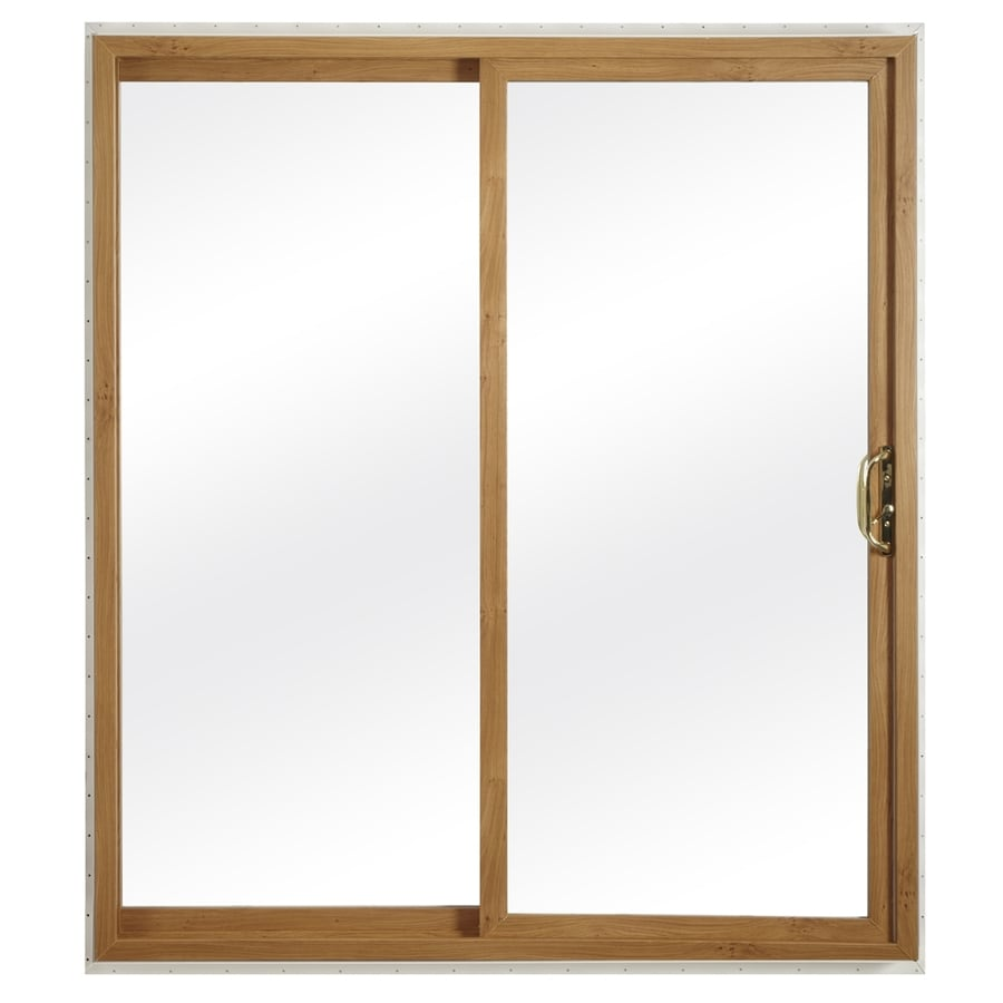 ReliaBilt 332 Series 70.75-in Clear Glass Light Oak Int White Ext Vinyl Sliding Patio Door with Screen