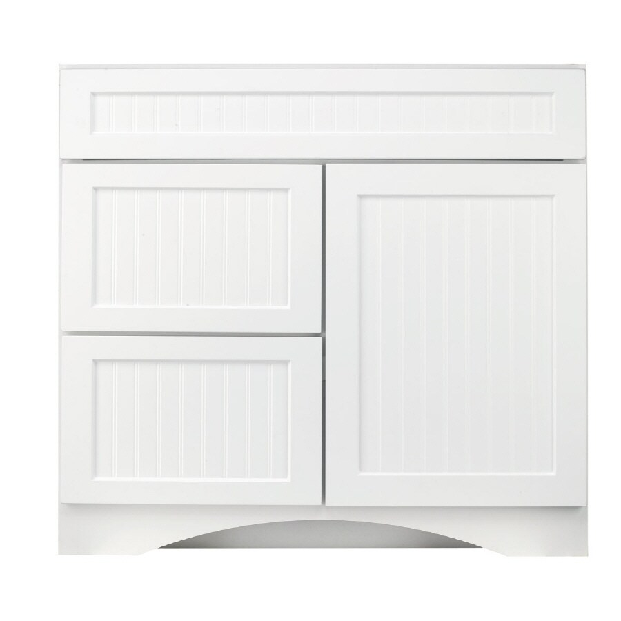 Shop kraftmaid cottage white casual bathroom vanity for Bathroom cabinets kraftmaid