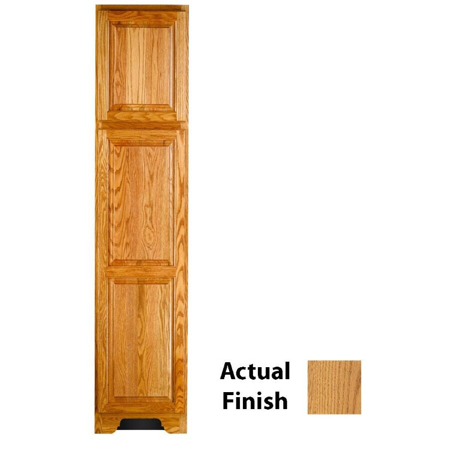 KraftMaid 18-in W x 83.5-in H x 21.88-in D Honey Spice Oak Freestanding Linen Cabinet