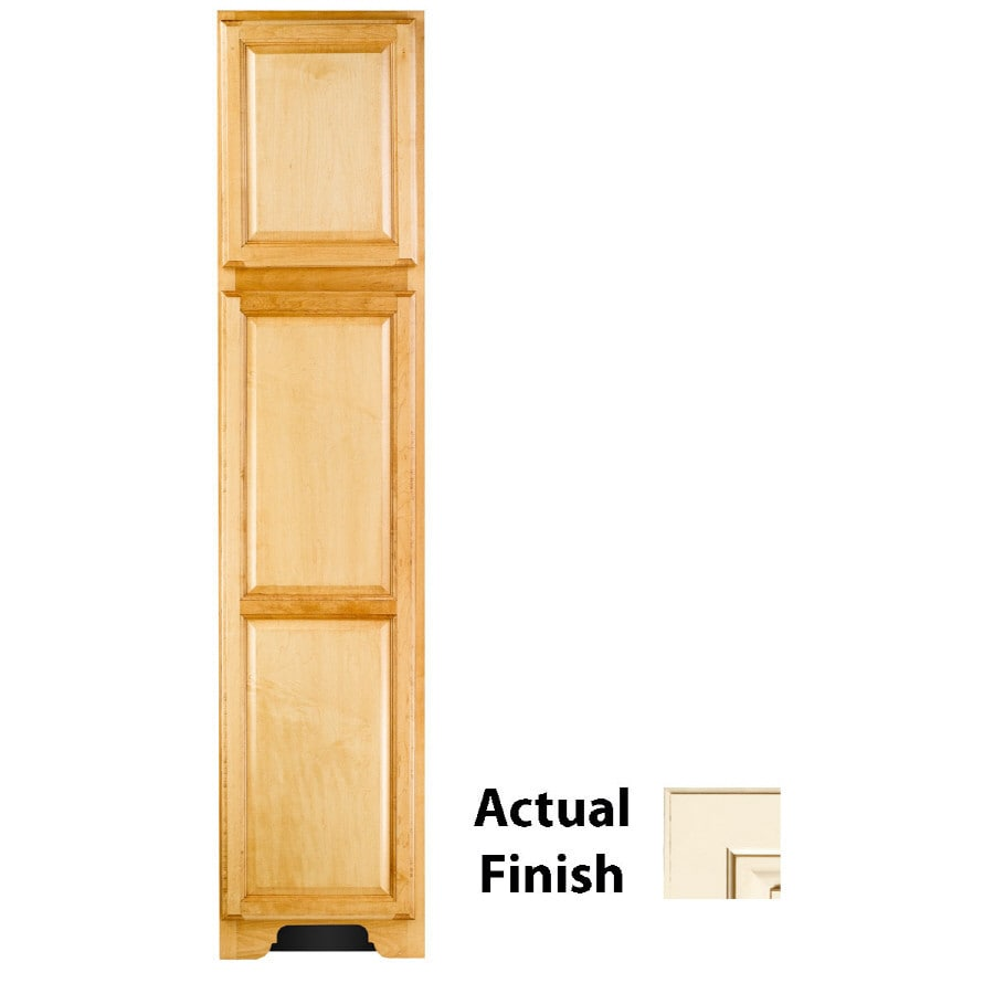 KraftMaid 18-in W x 83.5-in H x 21.88-in D Vanilla Bean Glaze Maple Freestanding Linen Cabinet