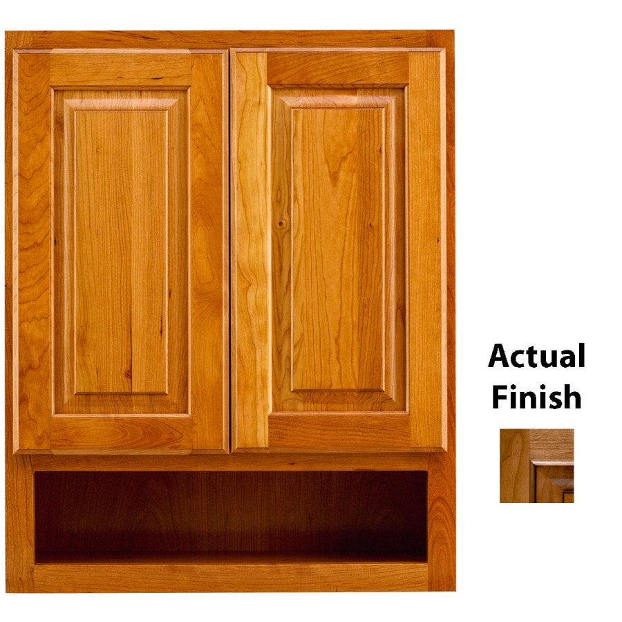 Shop Kraftmaid 24 In W X 30 In H X 7 In D Ginger Glaze Cherry Bathroom Wall Cabinet At