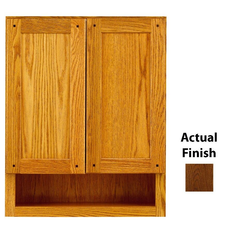 KraftMaid 24-in W x 30-in H x 7-in D Cognac Oak Bathroom Wall Cabinet