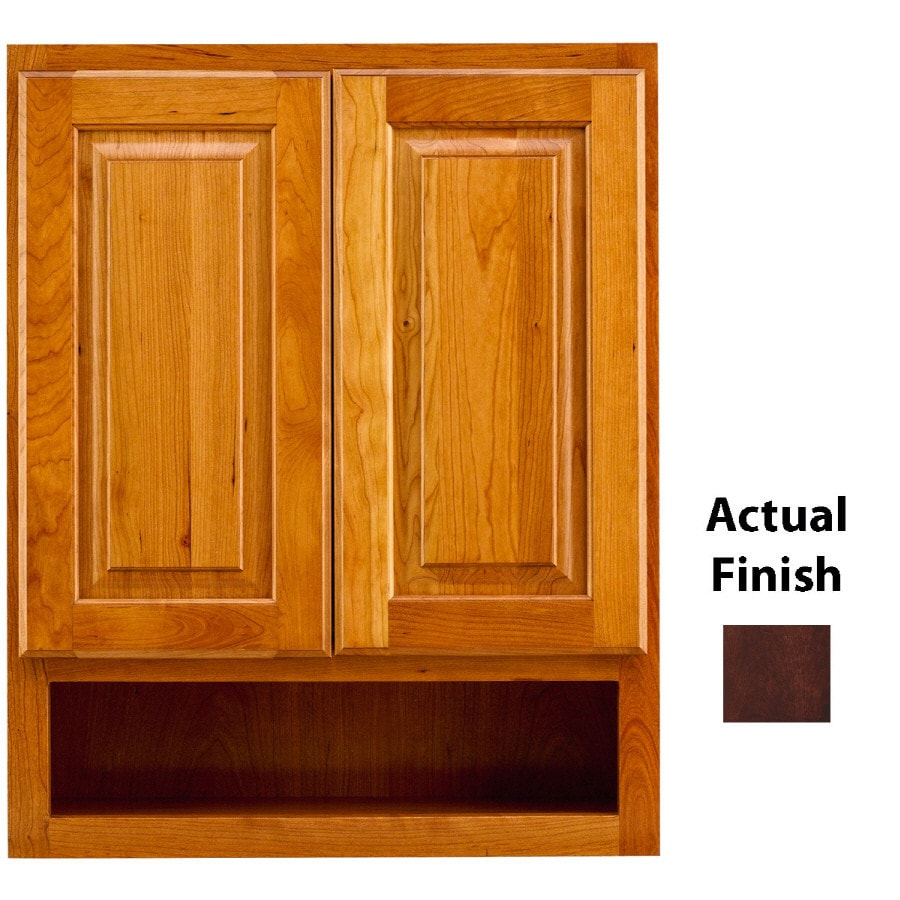 KraftMaid 24-in W x 30-in H x 7-in D Kaffe Cherry Bathroom Wall Cabinet