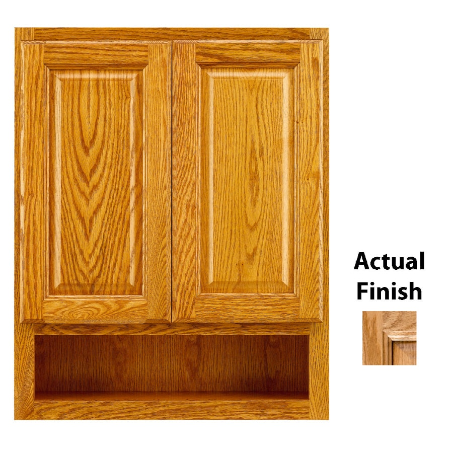 Shop kraftmaid 24 in w x 30 in h x 7 in d nutmeg glaze oak for Bathroom cabinets kraftmaid