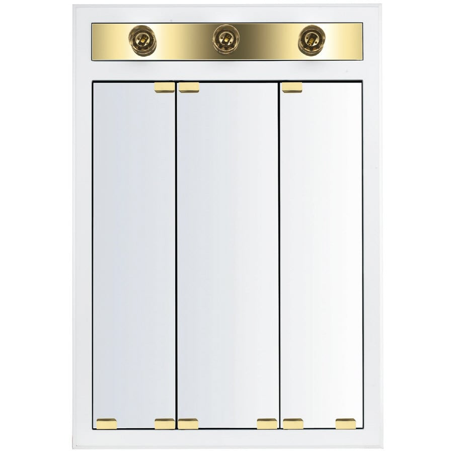 Shop KraftMaid Cottage 24 In X 35 In Square Surface Recessed Mirrored Wood Me
