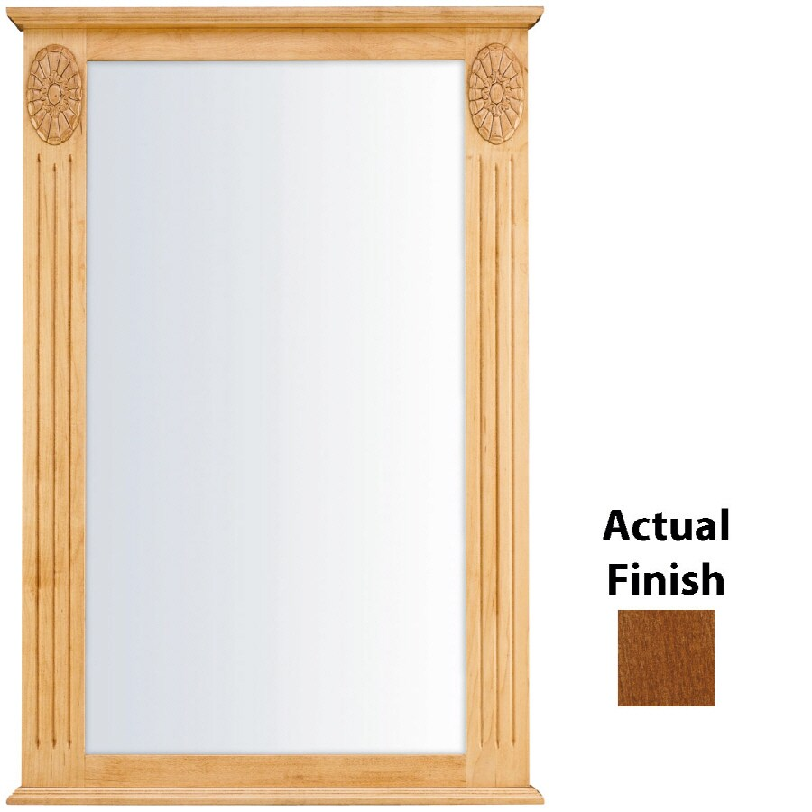 KraftMaid 25.25-in W x 37.5-in H Chestnut Rectangular Bathroom Mirror
