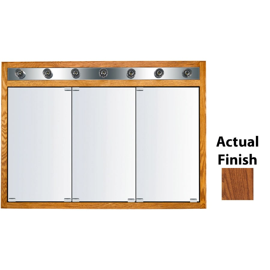KraftMaid Formal 47-in x 33-in Square Surface/Recessed Mirrored Wood Medicine Cabinet with Lights