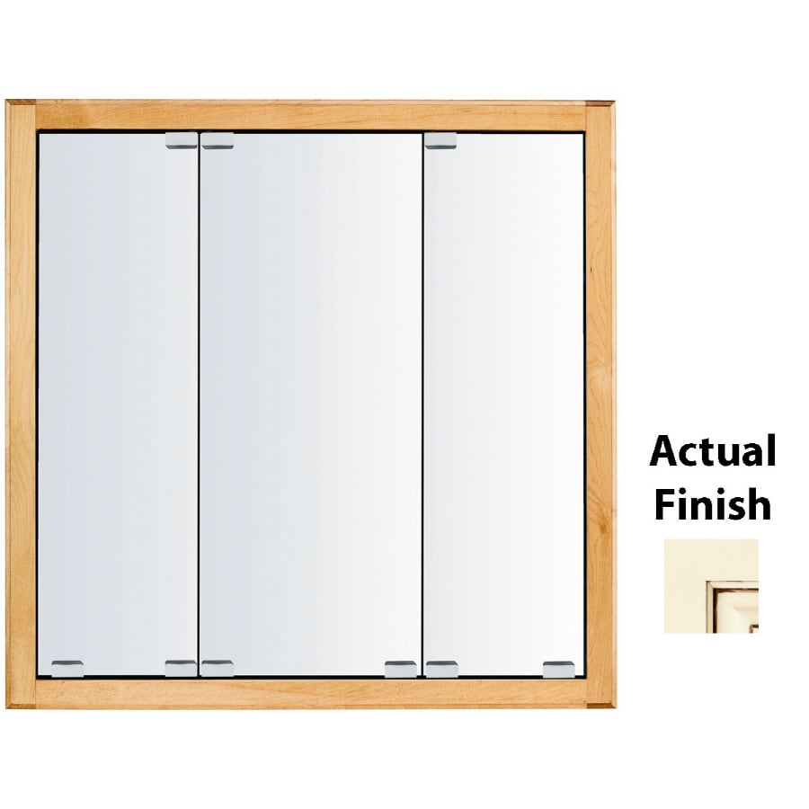 KraftMaid Traditional 23-in x 28-in Square Surface/Recessed Mirrored Wood Medicine Cabinet