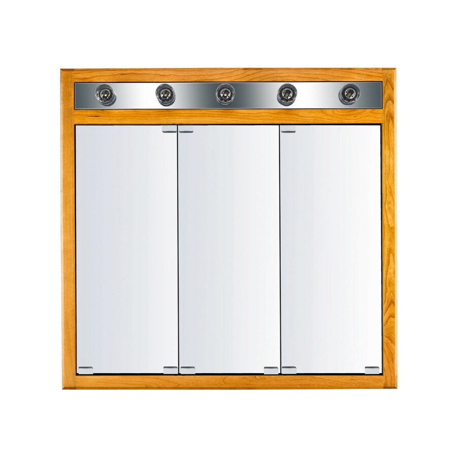 KraftMaid Classic 35-in x 33-in Square Surface/Recessed Mirrored Wood Medicine Cabinet with Lights