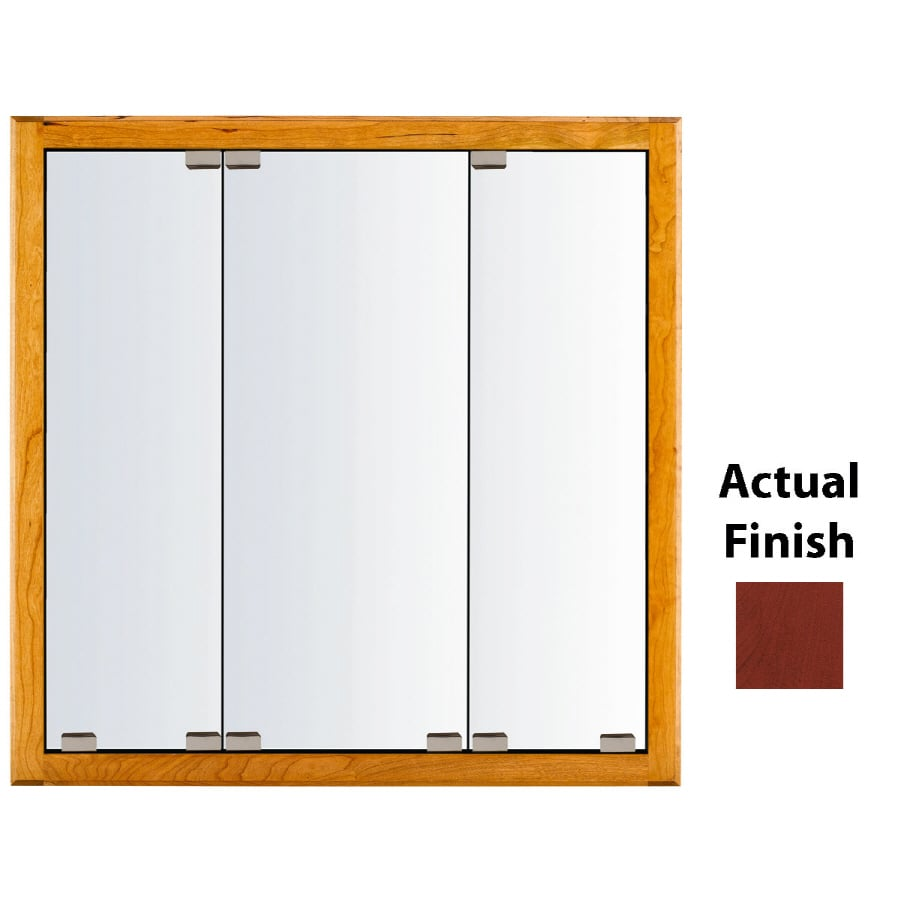 KraftMaid Classic 23-in x 28-in Square Surface/Recessed Mirrored Wood Medicine Cabinet