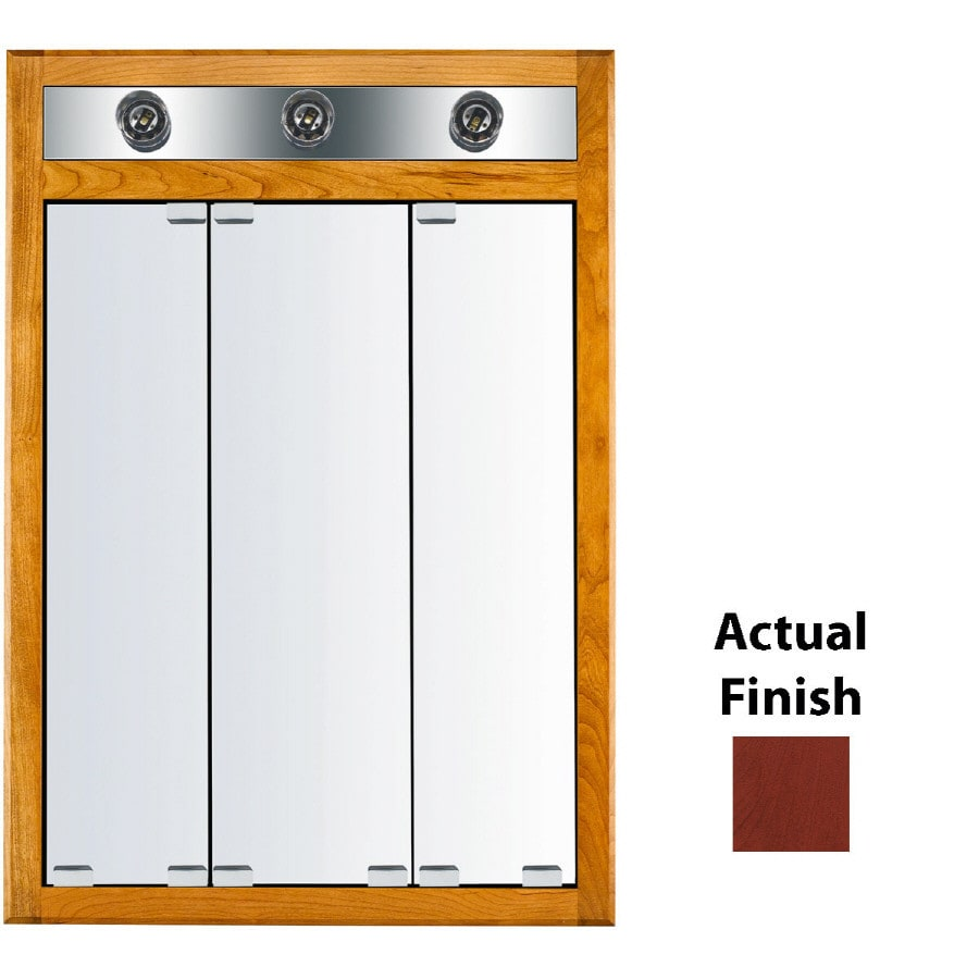 KraftMaid Formal 24-in x 35-in Square Surface/Recessed Mirrored Wood Medicine Cabinet with Lights