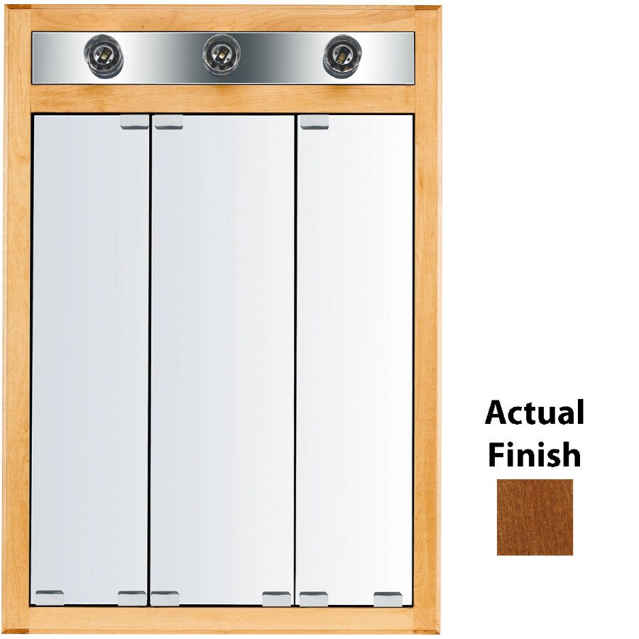 KraftMaid Cottage 24-in x 35-in Square Surface/Recessed Mirrored Wood Medicine Cabinet with Lights