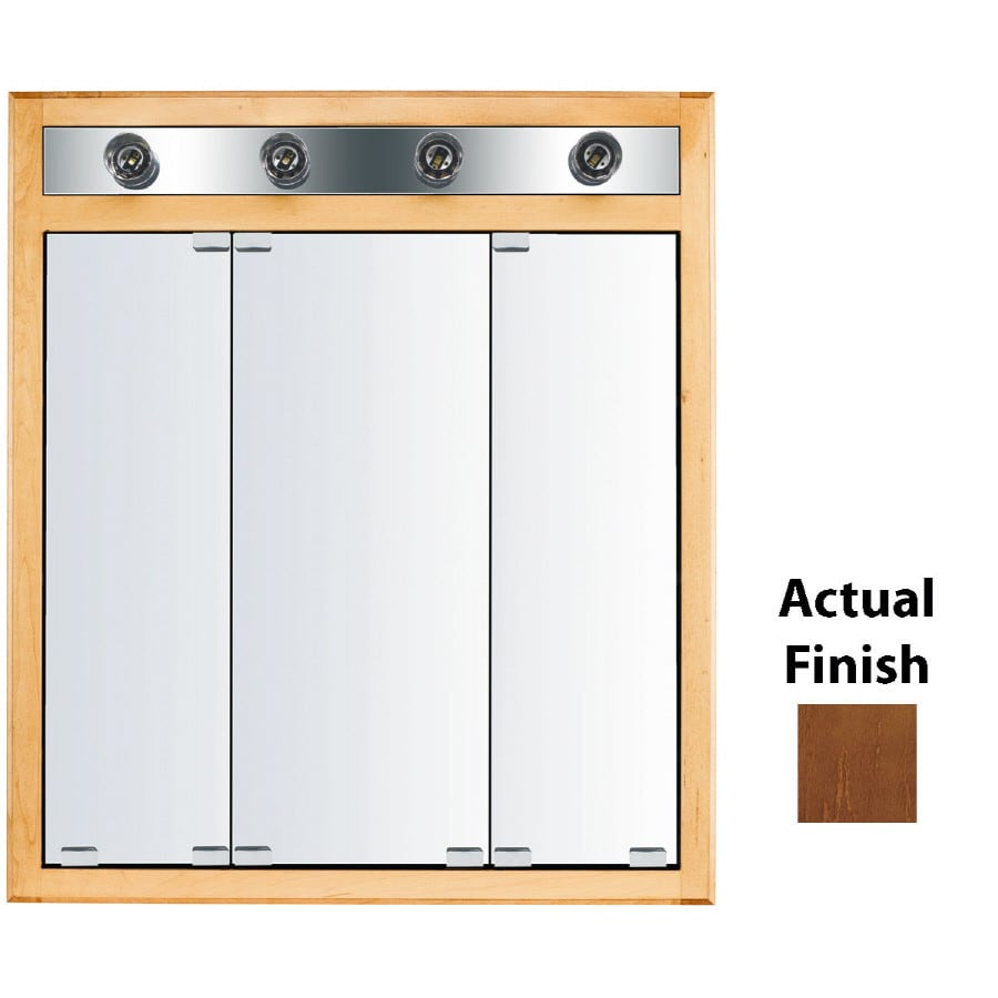 KraftMaid Cottage 30-in x 35-in Square Surface/Recessed Mirrored Wood Medicine Cabinet with Lights