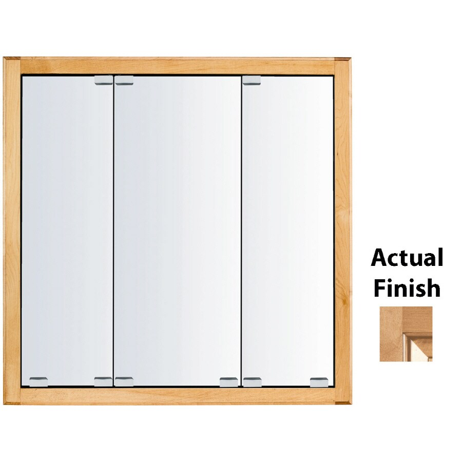 KraftMaid Cottage 29-in x 28-in Square Surface/Recessed Mirrored Wood Medicine Cabinet