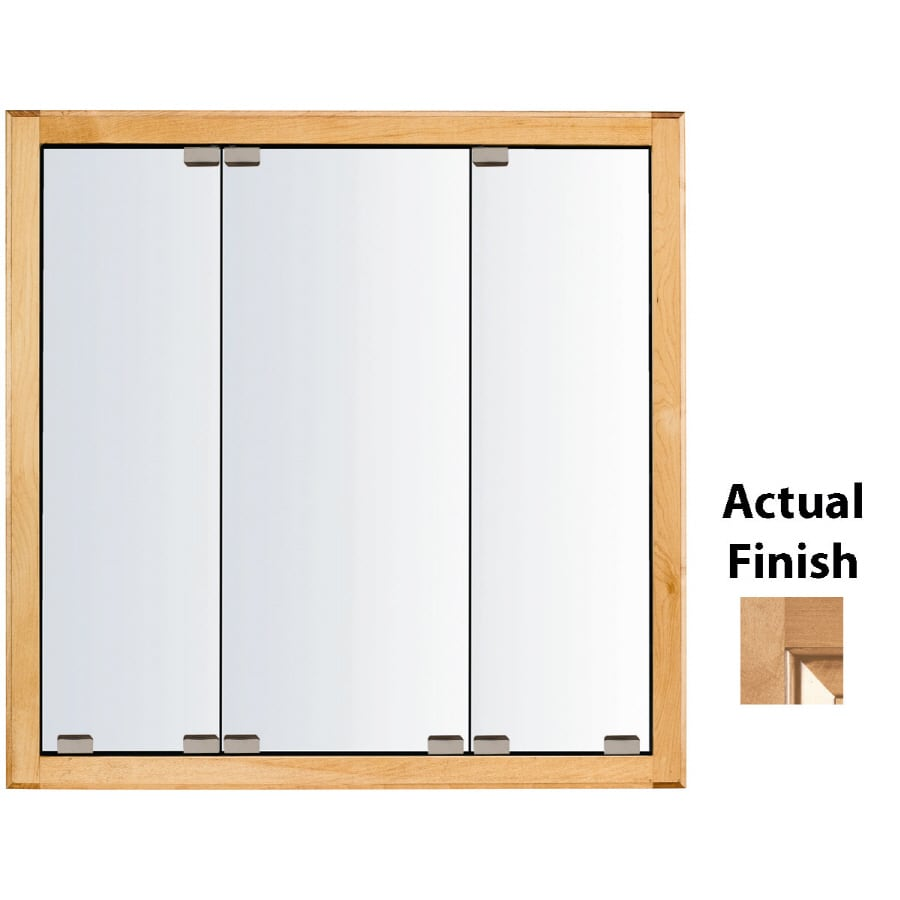 KraftMaid Cottage 47-in x 28-in Square Surface/Recessed Mirrored Wood Medicine Cabinet