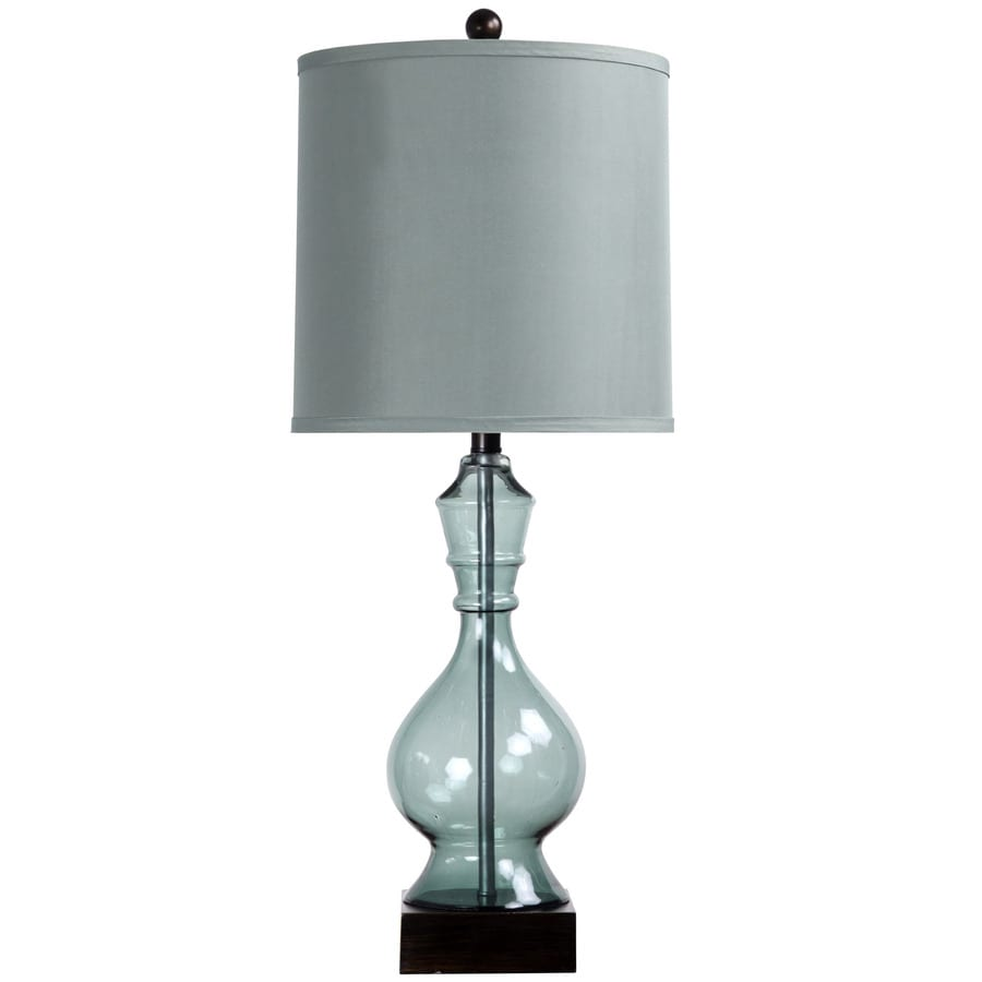 StyleCraft Home Collection 31-in 3-Way Switch Asteria Blue Indoor Table Lamp with Fabric Shade