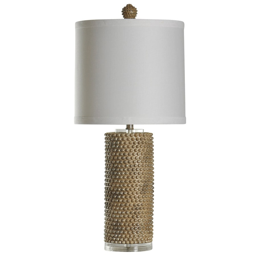 StyleCraft Home Collection 32-in 3-Way Switch Georgian Silver Indoor Table Lamp with Fabric Shade