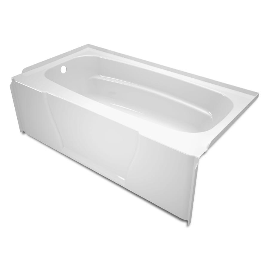 ASB 60-in x 32-in Firenze High-Gloss White Rectangular Skirted Bathtub with Left-Hand Drain