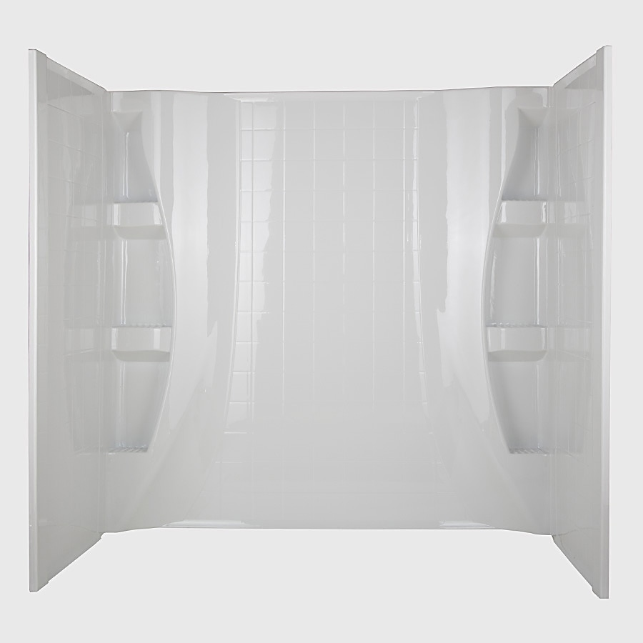 "Aqua Glass 59""W x 27"" x 60""H High Gloss White Bathtub Wall Surround"