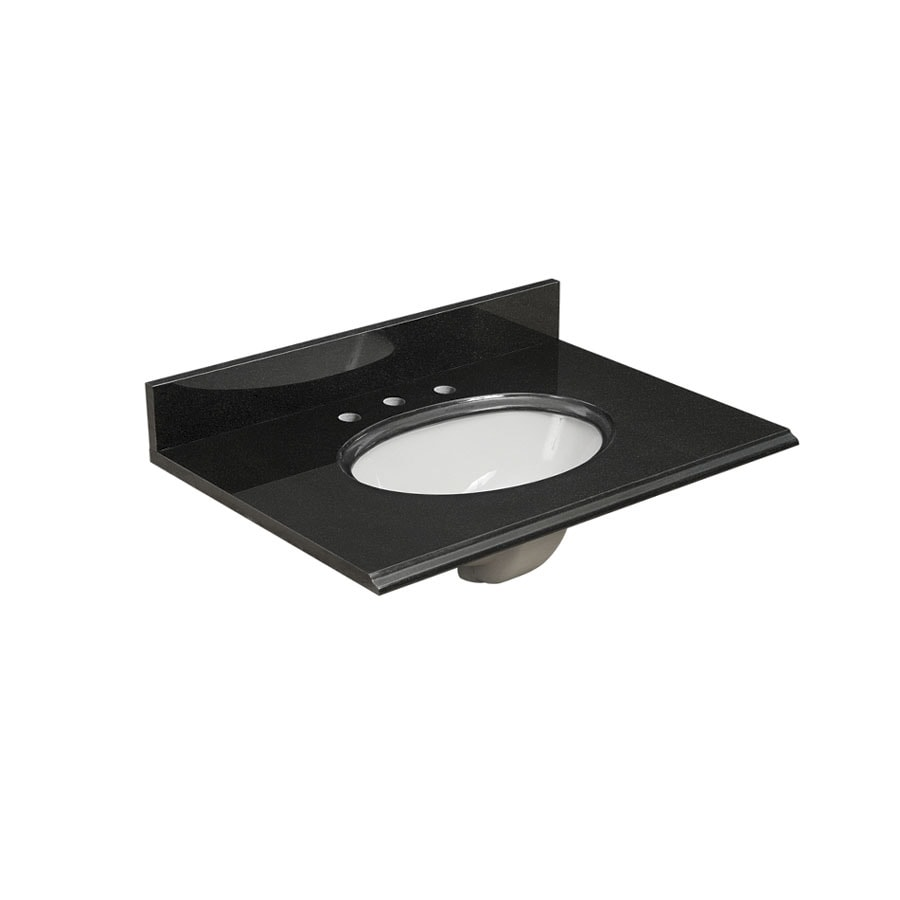 allen + roth Midnight Black Granite Undermount Single Sink Bathroom Vanity Top (Actual: 31-in x 22-in)