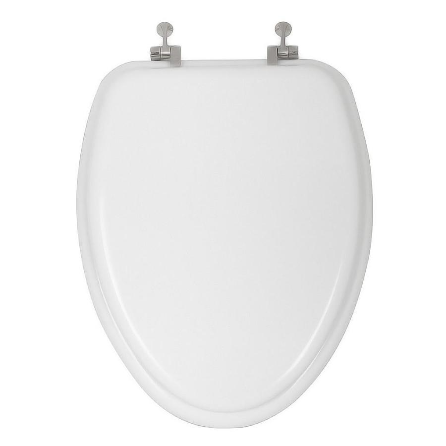 AquaSource White Wood Elongated Toilet Seat