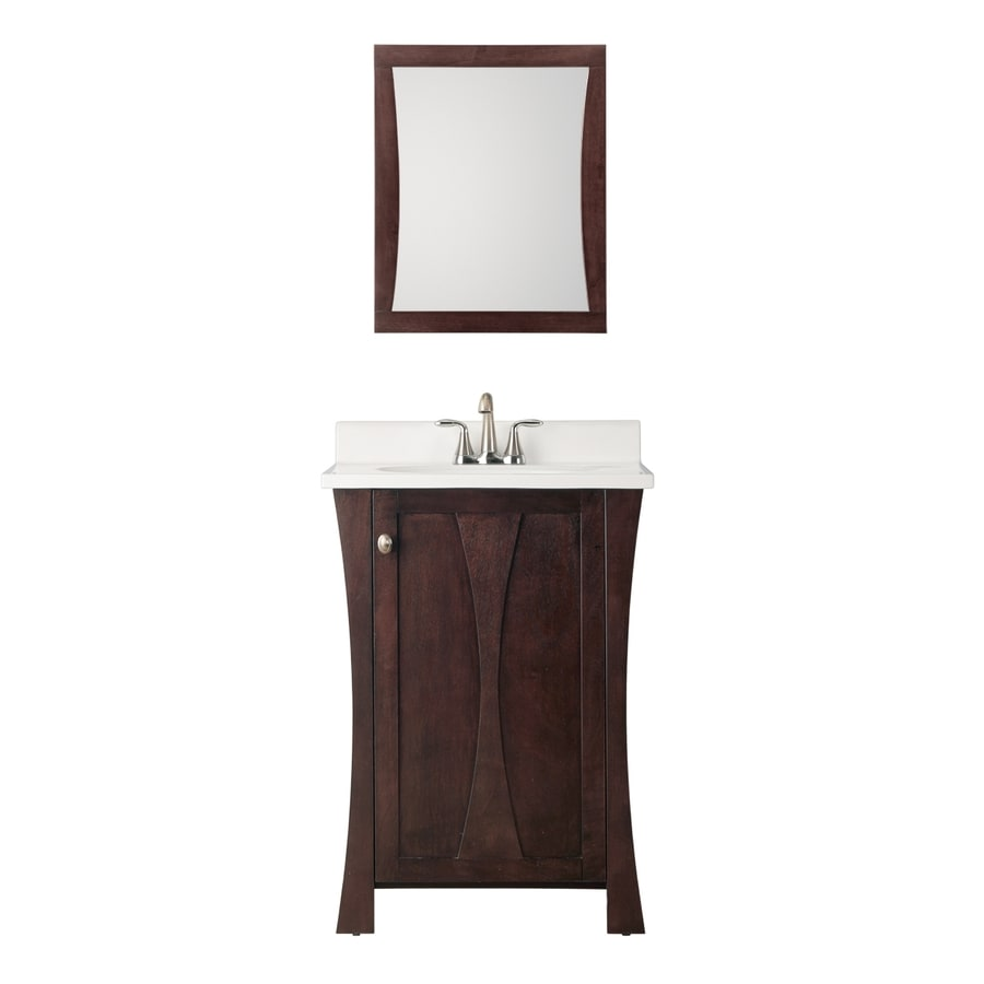 Style Selections Auburn Integral Single Sink Poplar Bathroom Vanity with Cultured Marble Top (Common: 24-in x 18-in; Actual: 24.625-in x 18.5-in)