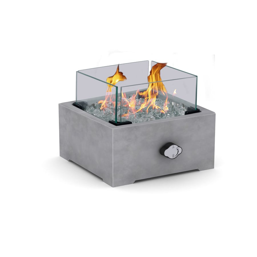 Garden Treasures 10 In W 10000 Btu Grey Portable Tabletop Composite Firebowl In The Gas Fire Pits Department At Lowes Com