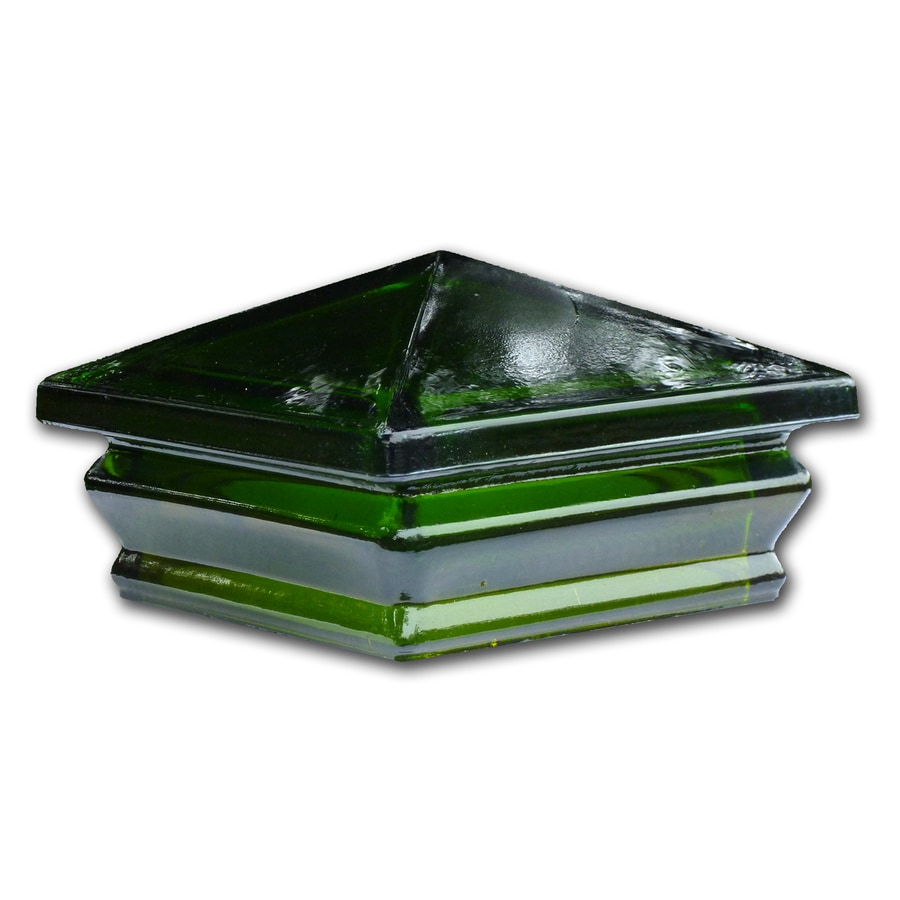 Woodway Green Glass Deck Post Cap (Fits Common Post Measurement: 6-in x 6-in; Actual: 7-in x 7-in x 3.5-in)