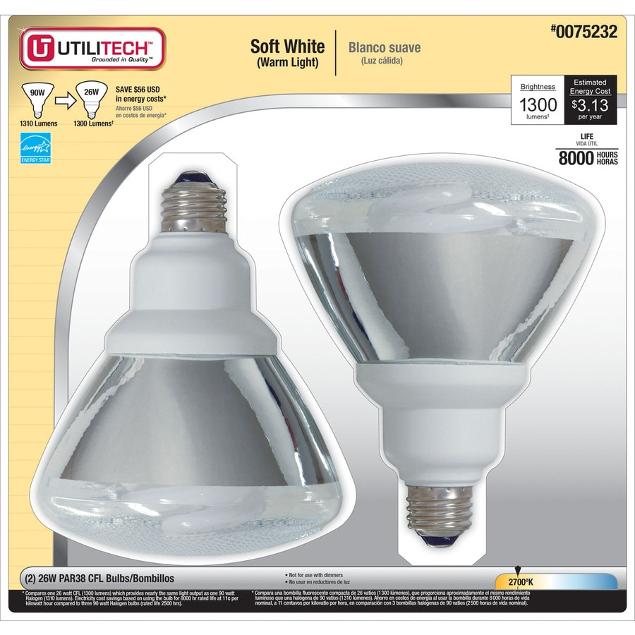 Utilitech 2-Pack 26-Watt (90W Equivalent) 2,700K PAR38 Soft White Outdoor CFL Bulbs