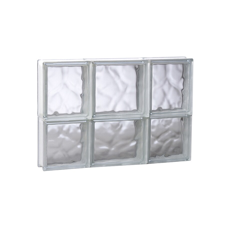 REDI2SET Wavy Glass Pattern Frameless Replacement Glass Block Window (Rough Opening: 19.75-in x 14-in; Actual: 19.25-in x 13.5-in)