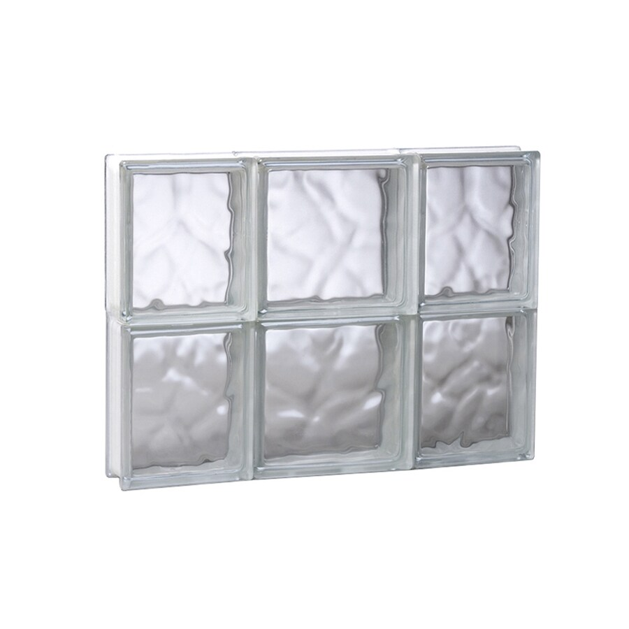 REDI2SET Wavy Glass Pattern Frameless Replacement Glass Block Window (Rough Opening: 19.75-in x 16-in; Actual: 19.25-in x 15.5-in)