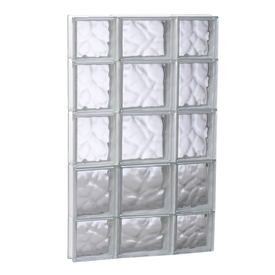 REDI2SET Wavy Glass Pattern Frameless Replacement Glass Block Window (Rough Opening: 19.75-in x 35.25-in; Actual: 19.25-in x 34.75-in)