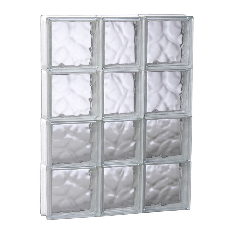 REDI2SET Wavy Glass Pattern Frameless Replacement Glass Block Window (Rough Opening: 21.75-in x 31.5-in; Actual: 21.25-in x 31-in)
