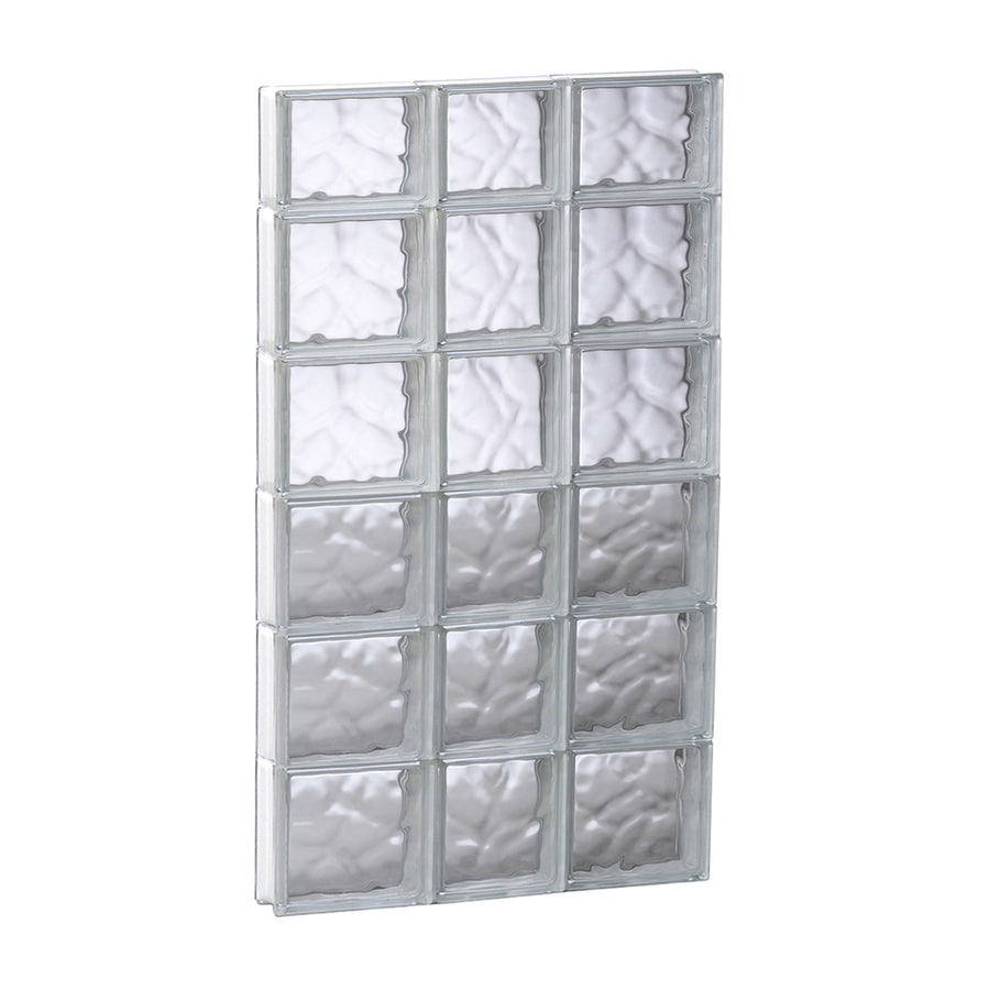 REDI2SET Wavy Glass Pattern Frameless Replacement Glass Block Window (Rough Opening: 21.75-in x 45-in; Actual: 21.25-in x 44.5-in)
