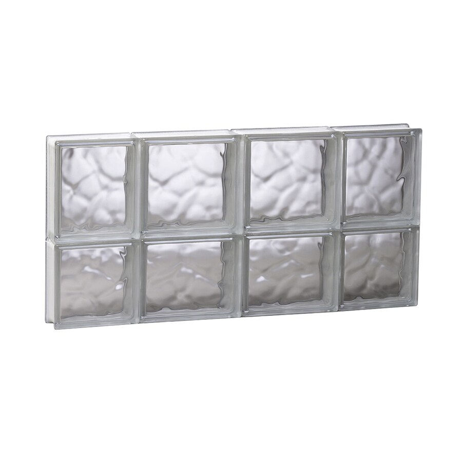 REDI2SET Wavy Glass Pattern Frameless Replacement Glass Block Window (Rough Opening: 27.5-in x 14-in; Actual: 27-in x 13.5-in)