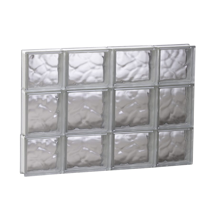 REDI2SET Wavy Glass Pattern Frameless Replacement Glass Block Window (Rough Opening: 27.5-in x 19.75-in; Actual: 27-in x 19.25-in)