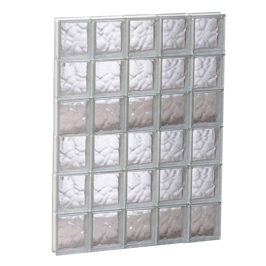 REDI2SET Wavy Glass Pattern Frameless Replacement Glass Block Window (Rough Opening: 29.25-in x 47-in; Actual: 28.75-in x 46.5-in)