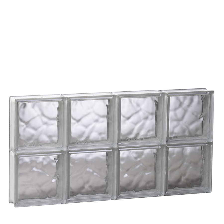 REDI2SET Wavy Glass Pattern Frameless Replacement Glass Block Window (Rough Opening: 31.5-in x 16-in; Actual: 31-in x 15.5-in)