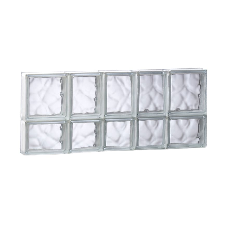 REDI2SET Wavy Glass Pattern Frameless Replacement Glass Block Window (Rough Opening: 33.25-in x 14-in; Actual: 32.75-in x 13.5-in)