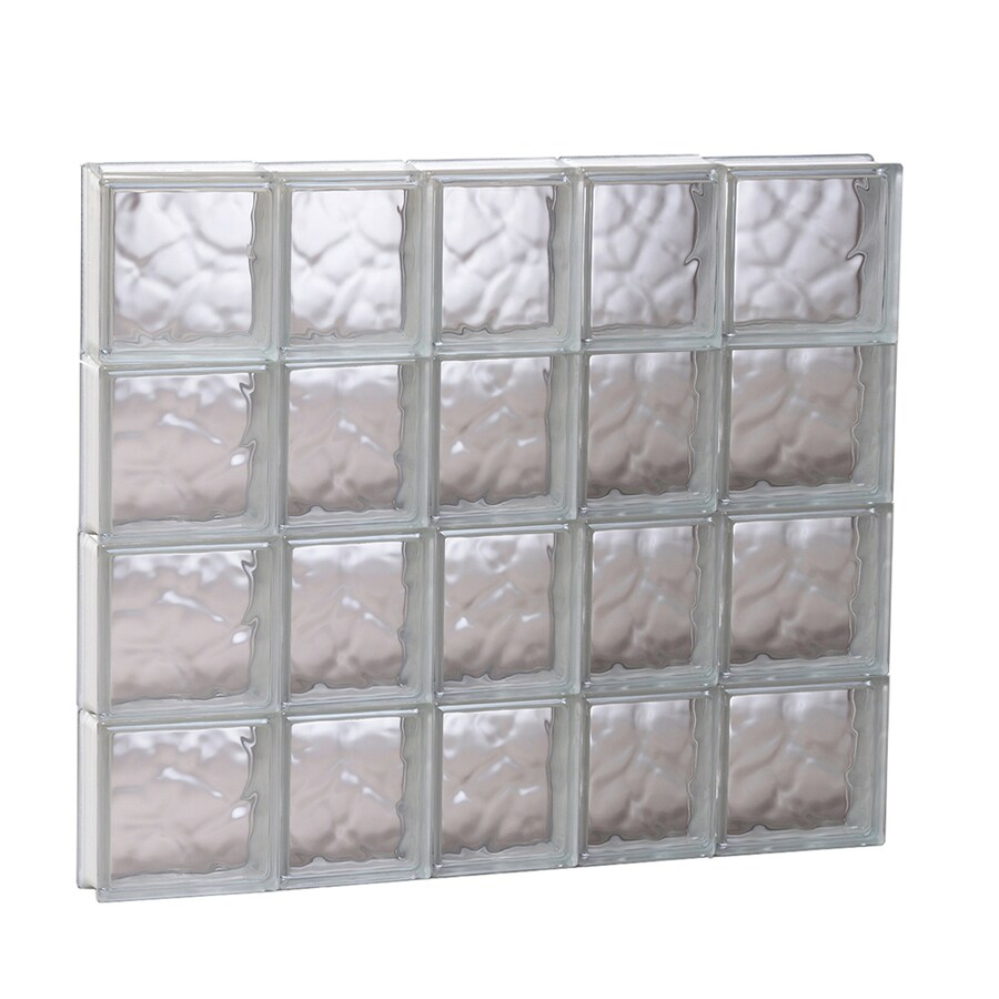 REDI2SET Wavy Glass Pattern Frameless Replacement Glass Block Window (Rough Opening: 33.25-in x 31.5-in; Actual: 32.75-in x 31-in)