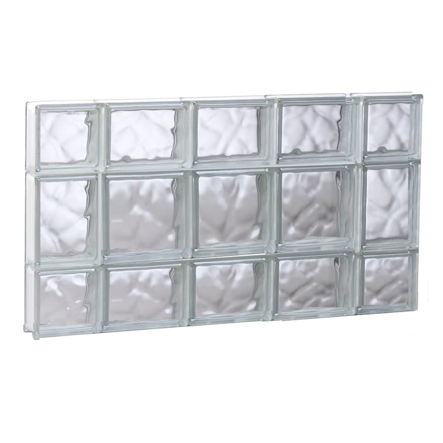 REDI2SET Wavy Glass Pattern Frameless Replacement Glass Block Window (Rough Opening: 35.25-in x 19.75-in; Actual: 34.75-in x 19.25-in)